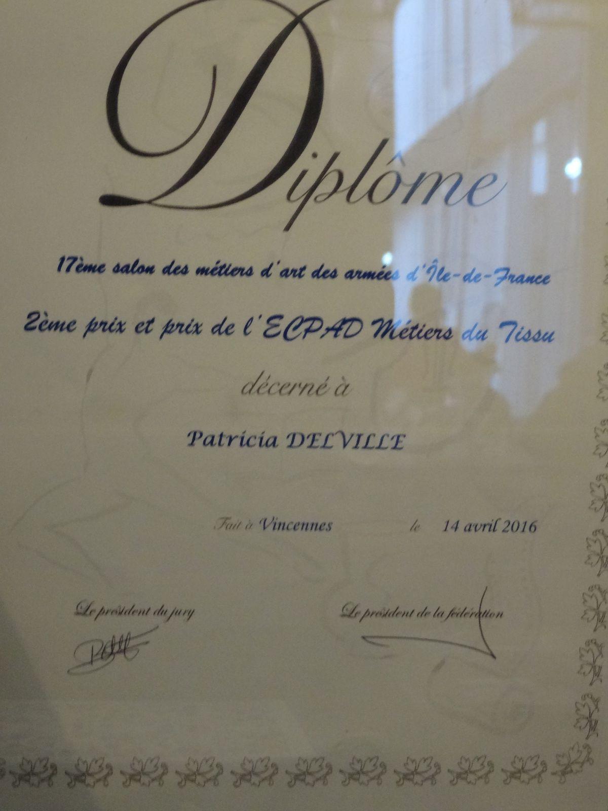 17 ème salon des Métiers d'Art d'Ile de France 2ème prix décerné à Patricia Delville