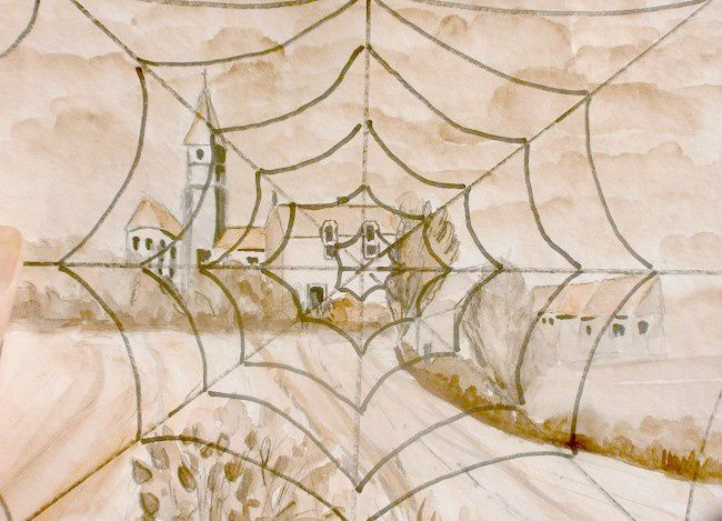 paysage et toile_Brigitte_dessin aquarellé