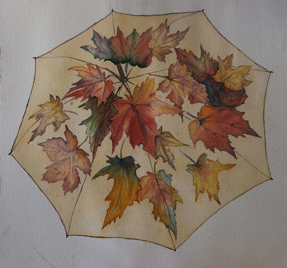 le parapluie prend les couleurs d'automne_Mado_aquarelle