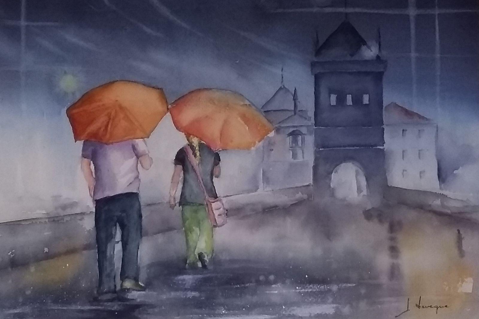 parapluie à Prague_Josiane Leveque_aquarelle