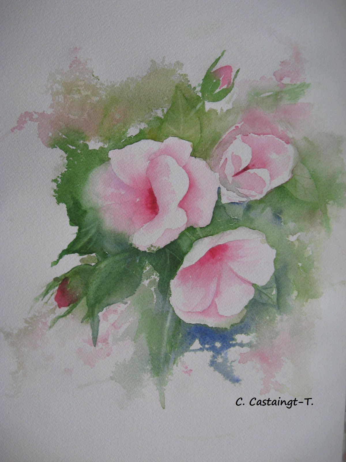 bouquet rose aquarellé