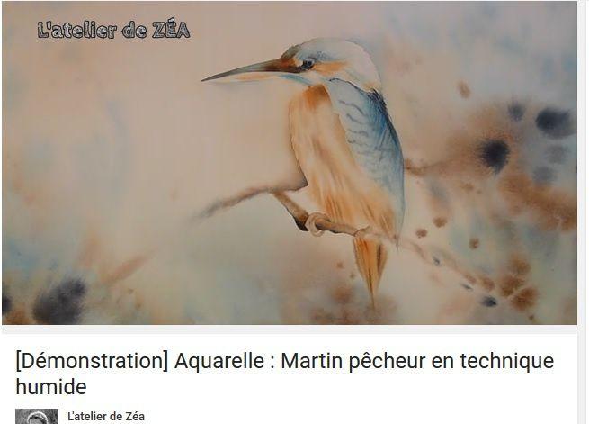 martin pécheur en technique humide - Aurélie Lebrun de Puytison