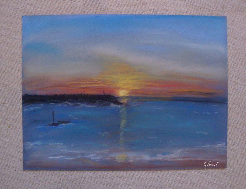 coucher de soleil sur la mer_Sylvie_pastel