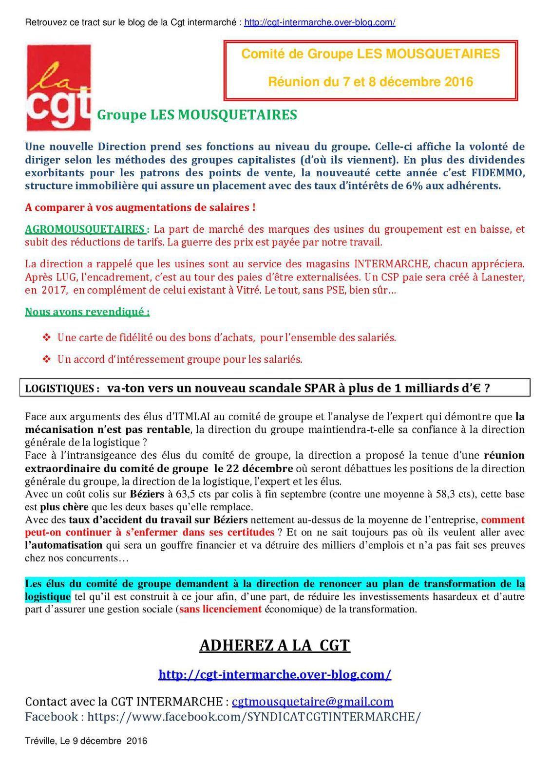 CGT, COMITE DE GROUPE, INTERMARCHE, LES MOUSQUETAIRES