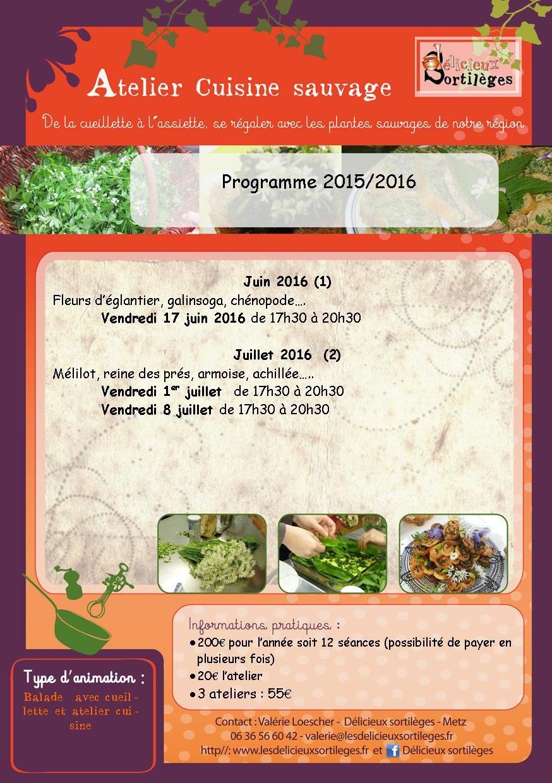 Programme des ateliers cuisine sauvage 2015- 2016