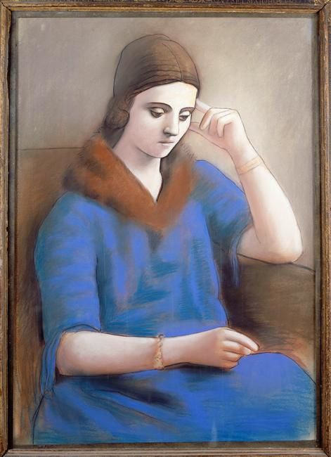 Olga pensive - Olga Khokhlova, 1891-1955.