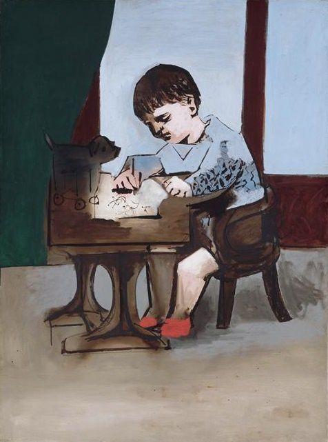 Paul dessinant, sans date. Musée Picasso, Paris - Portrait de Paul, 1921-1975.