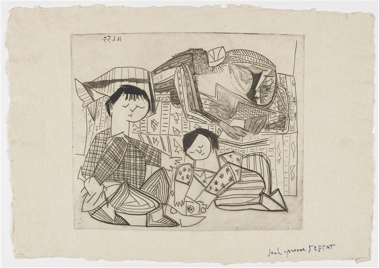 Françoise, Claude, Paloma, la lecture et les jeux II, Vème état. Musée Picasso, Paris.