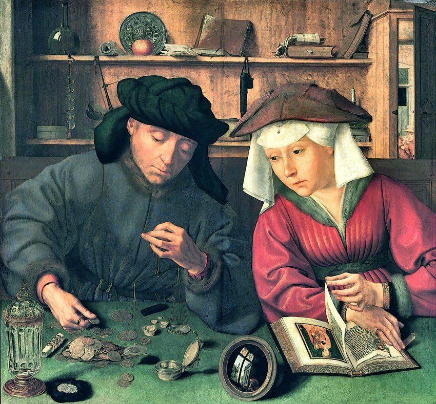 Entrons dans cette galerie par l'oeuvre la plus célèbre, posée par terre dans le coin droit du tableau : Le prêteur et sa femme (1514) de Quentin Metsys (1466-1530), 70X67, Musée du Louvre.