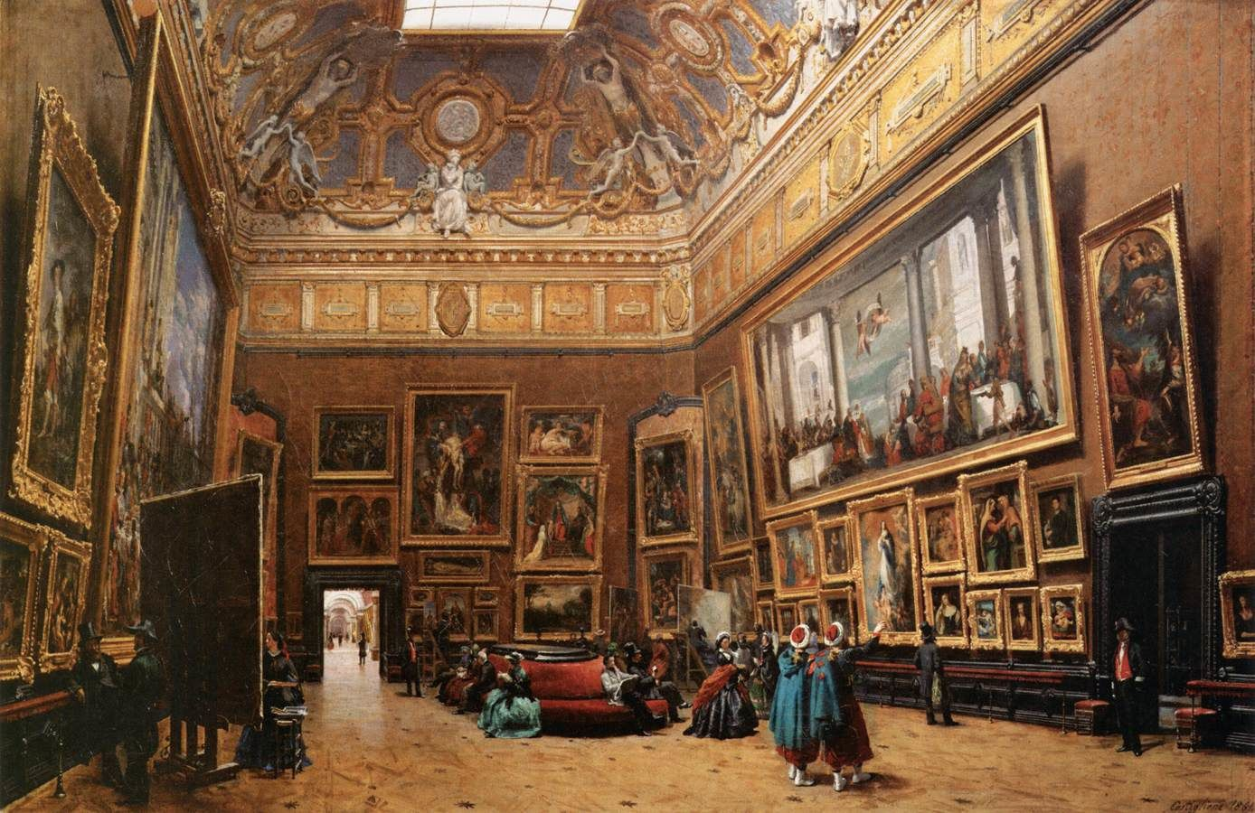 Giuseppe Castiglione (1829-1906) : Vue du Grand Salon Carré, au Musée du Louvre, salon de 1861, 69X103, Musée du Louvre.