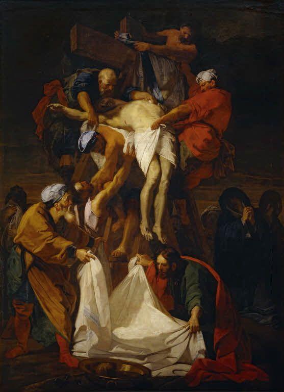 Au milieu du mur du fond : Jean Jouvenet (1644-1717) : La Descente de Croix, 1697, 424X312, Musée du Louvre, collection de l'Académie, non visible actuellement.
