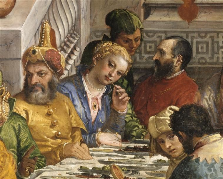L'invitée rêveuse a des allures de dame vénitienne.