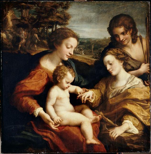 -Corrège (1489-1534) : Le Mariage Mystique de Sainte Catherine devant Saint Sébastien, 1526-27,105X102, Musée du Louvre.