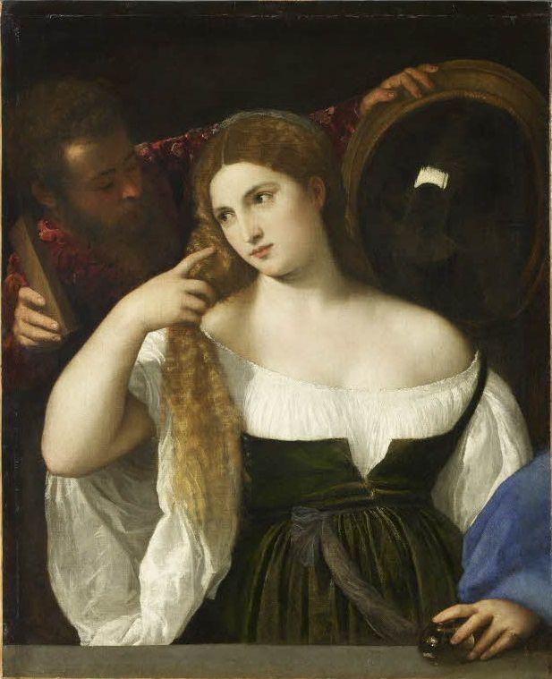 Tiziano (v.1488-1576) : La Femme au Miroir, Dit aussi la Femme à sa Toilette, v.1515, 99x76, Musée du Louvre.
