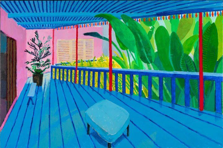 Garden with Blue Terrace, 2015, 122 X 183. Collection privée.