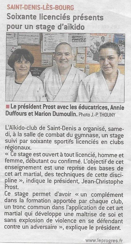 Article du journal le progr s stage de base samedi 9 for Denis article de bureau