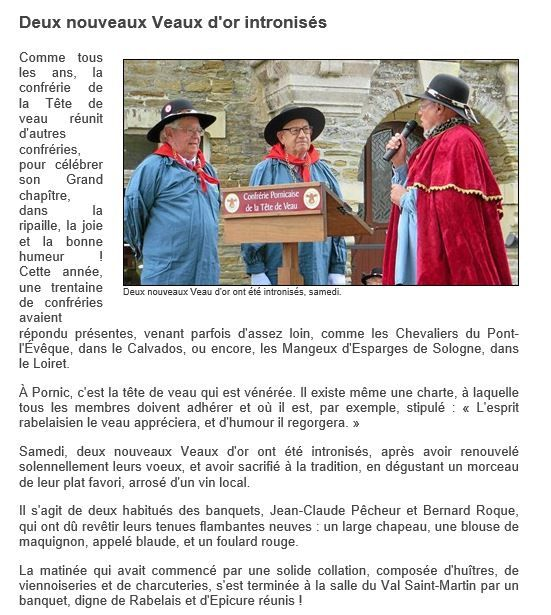 Article Ouest-France du 27/09/2016.