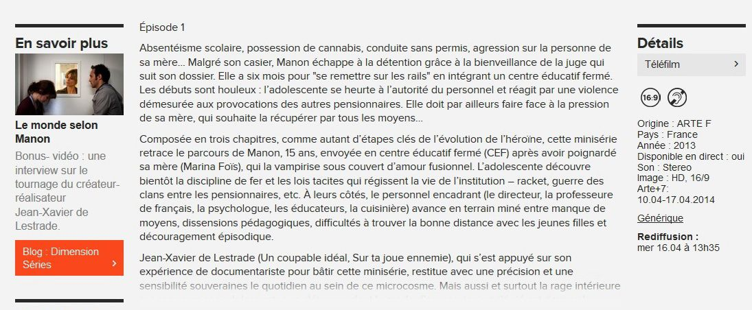 3 x Manon sur Arte +7