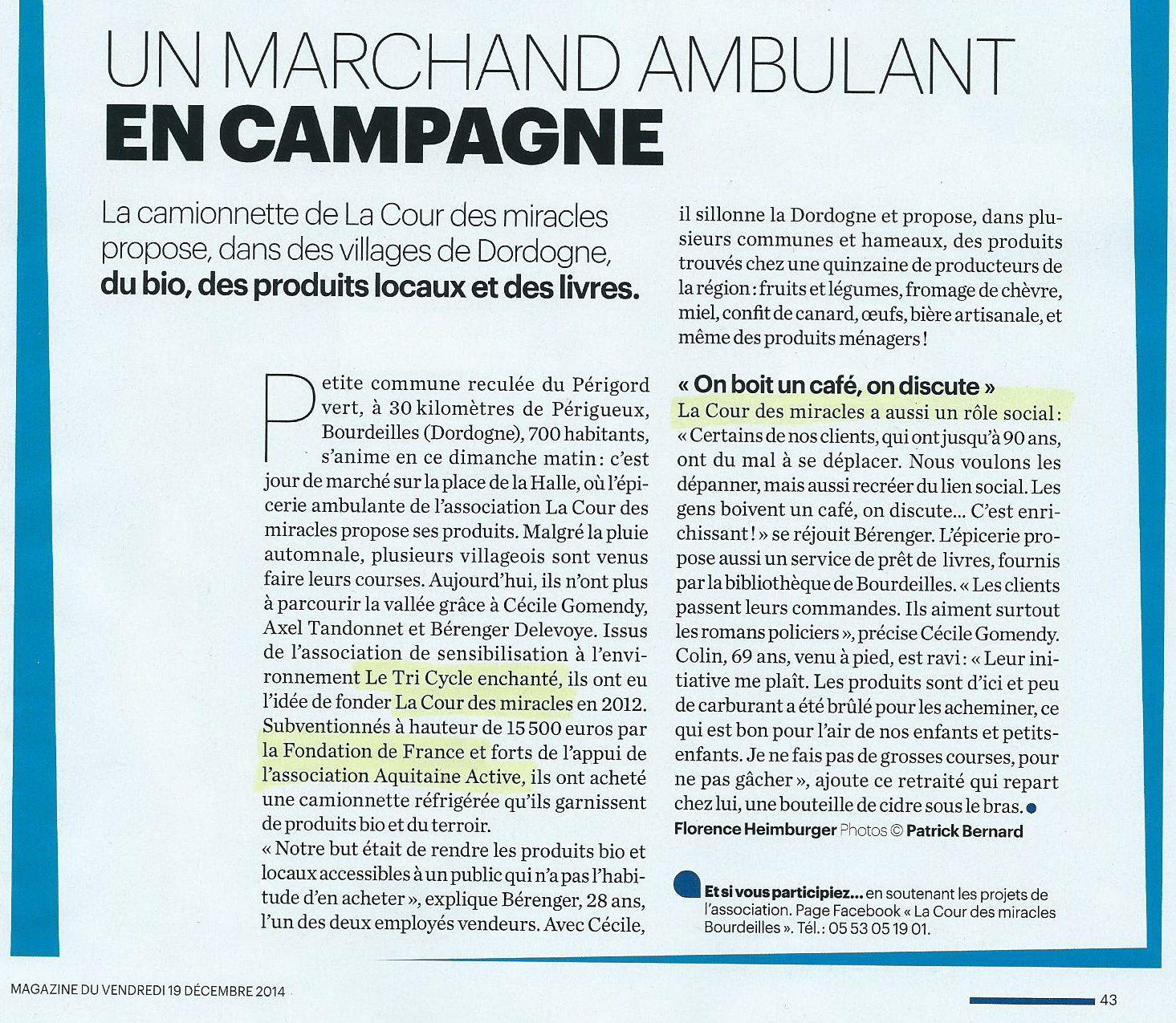 Page extraite du Parisien Magazine du 19 décembre 2014
