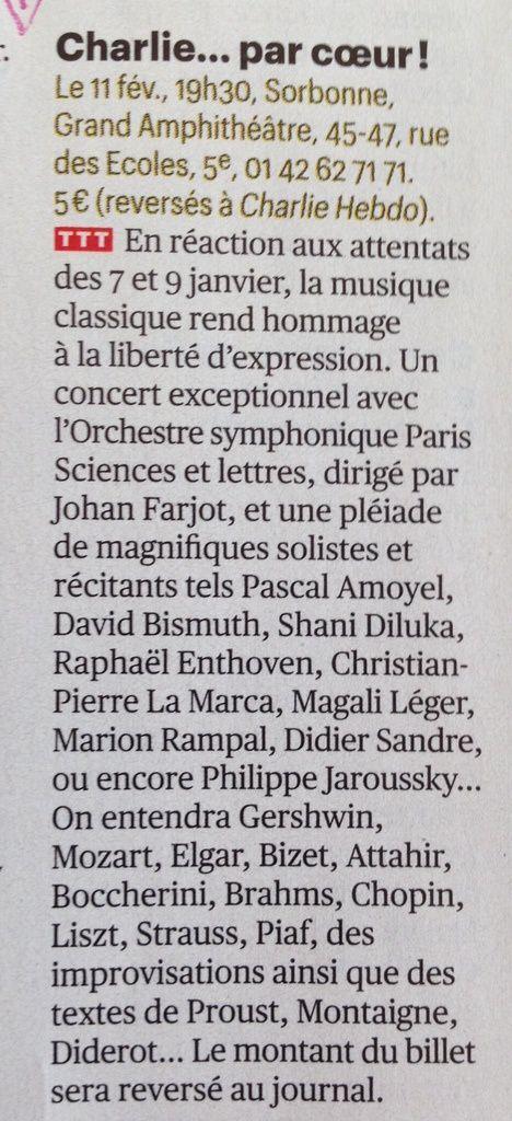 Charlie... par coeur, ce soir à La Sorbonne à Paris