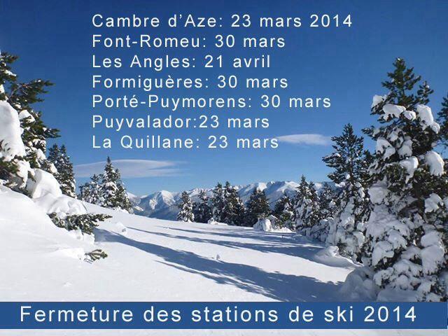 Fermeture fin mars 2014 des stations de ski des PO