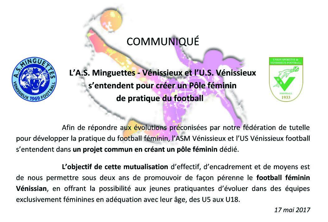 Le communiqué des deux clubs de football vénissian