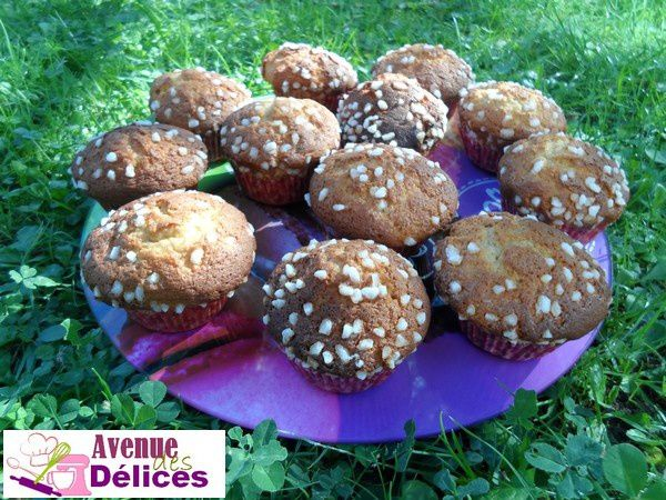 Madeleines façon muffins, finition chouquettes