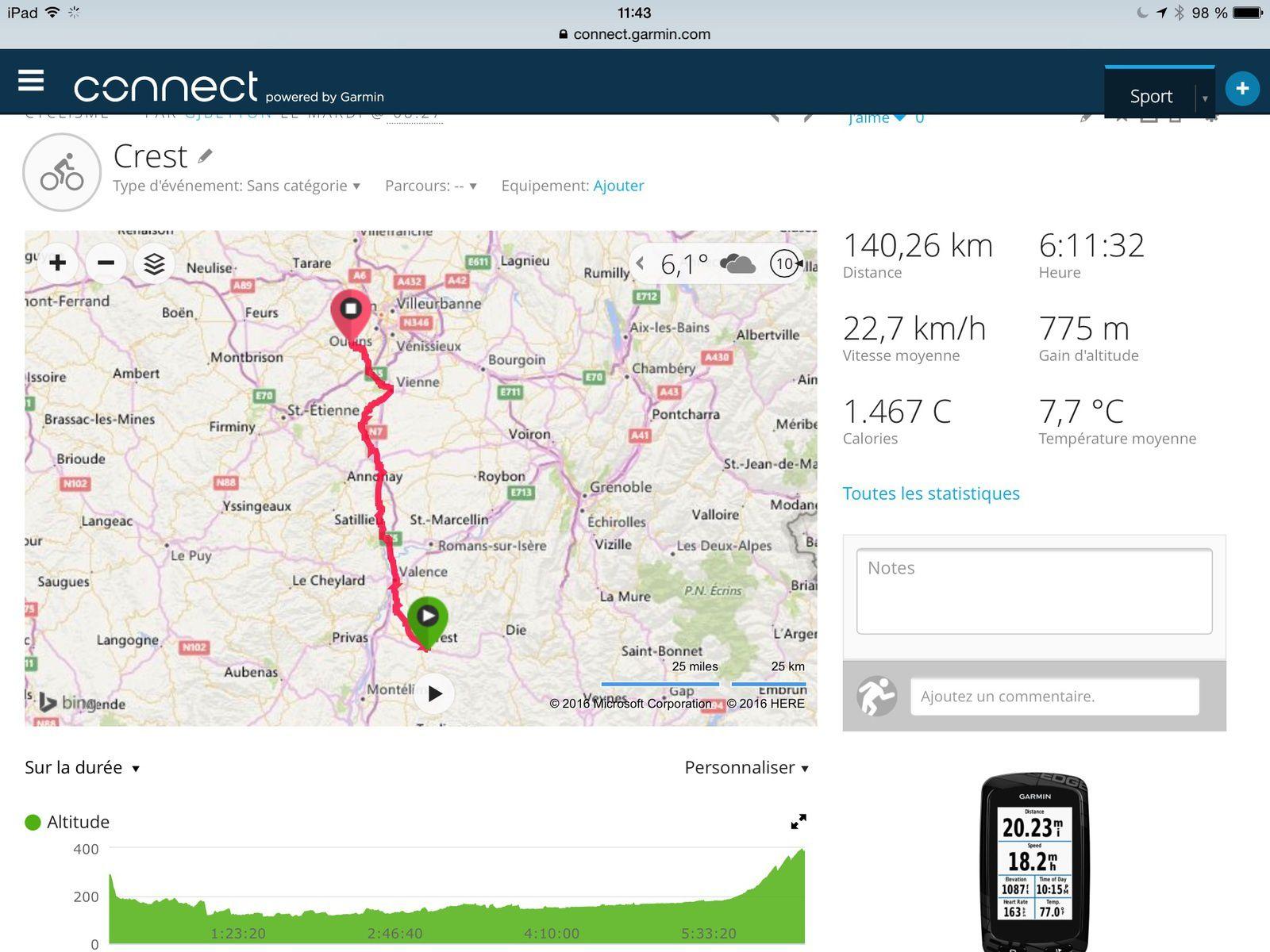 De Crest à Soucieu en Jarrest, à vélo.