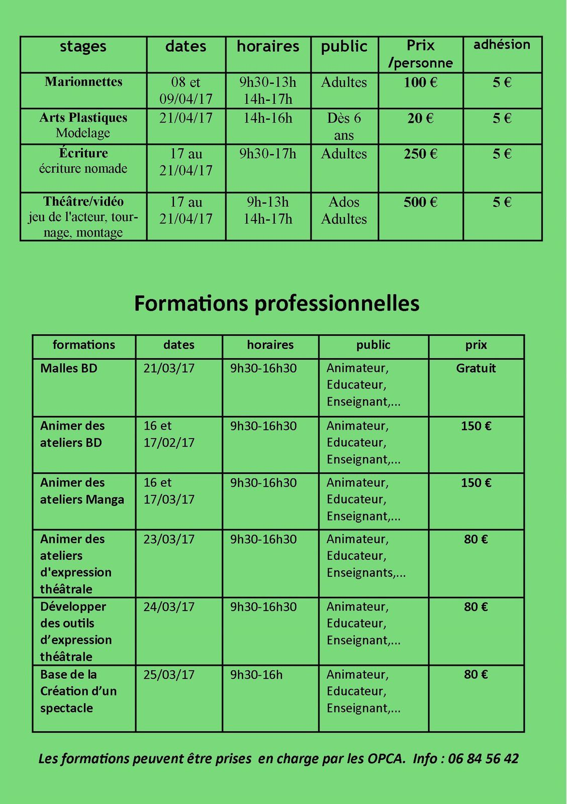 Nos Stages et Formations...le programme !
