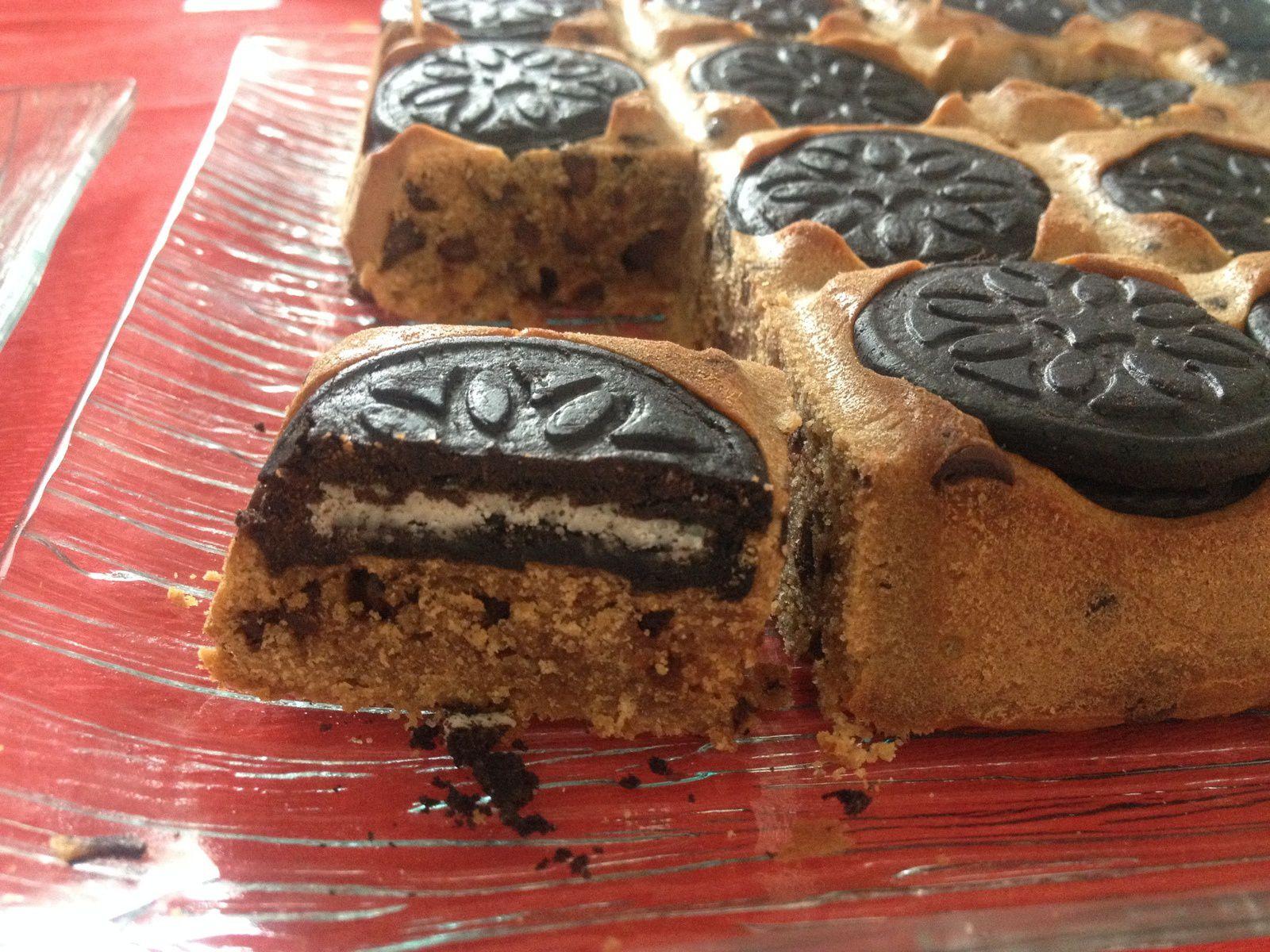 Gâteau speculos, oréos et pépites de chocolat