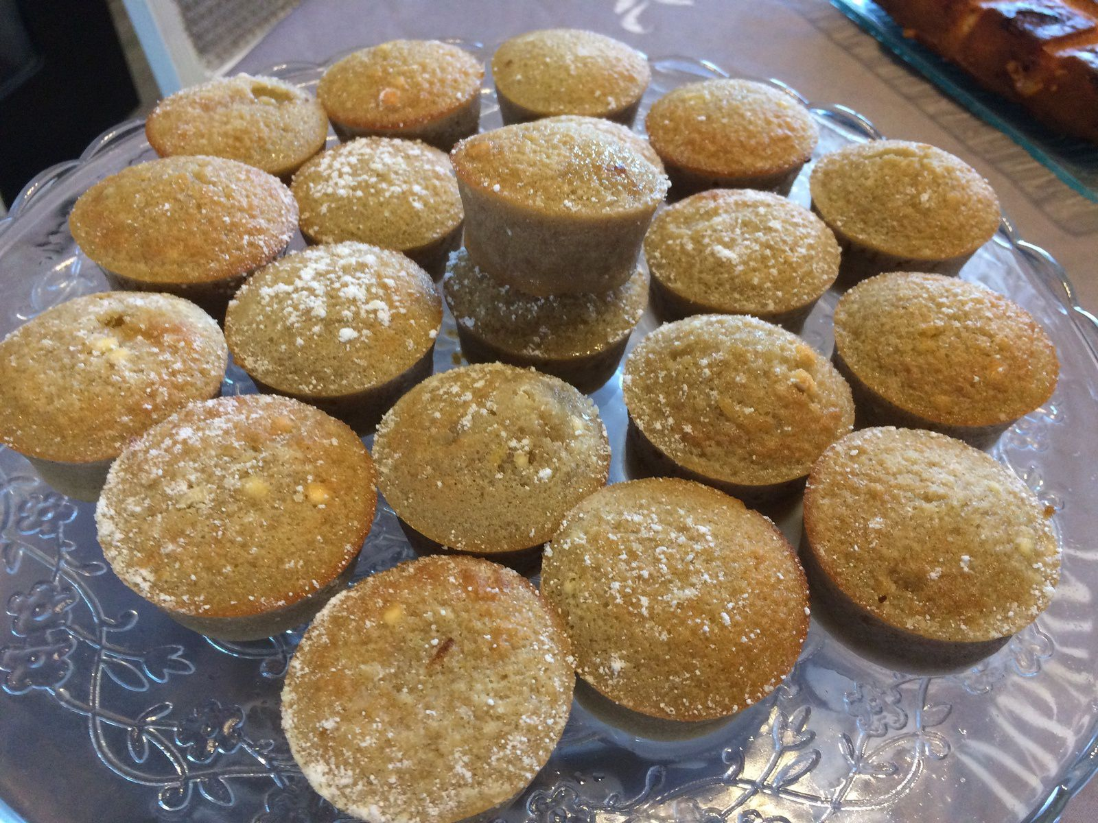 Mini muffins à la crème de marrons, coeur de chocolat blanc