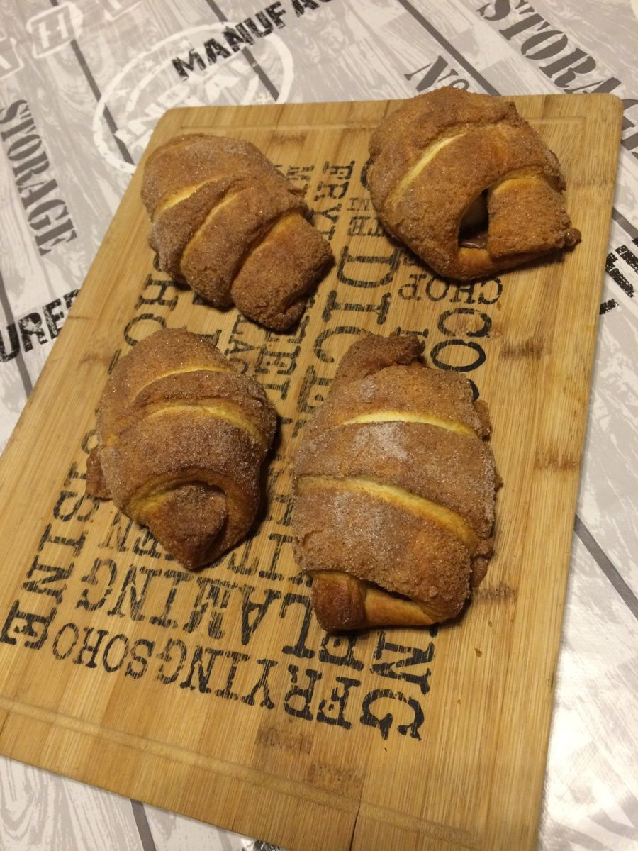 Croissants croustillants fourrés banane nutella