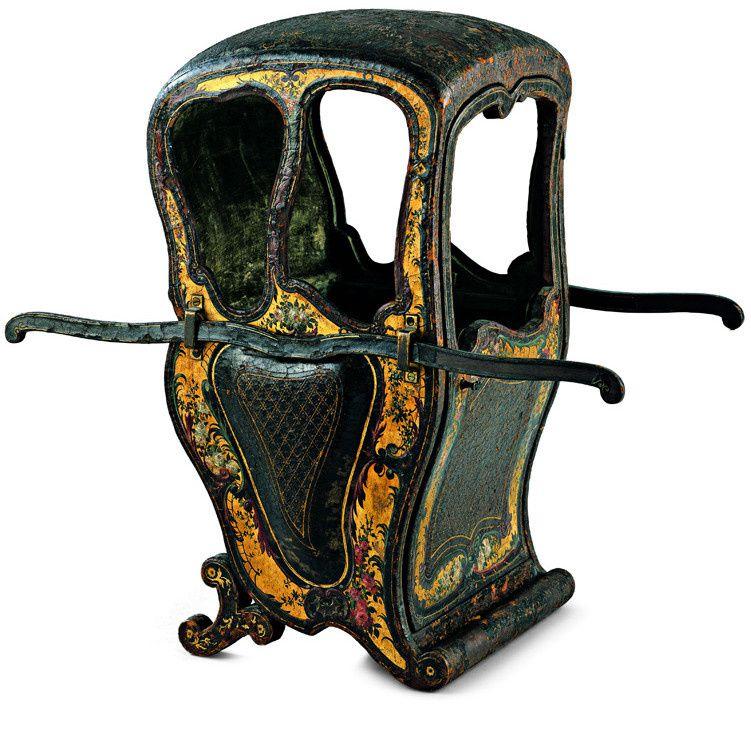 Modèle de chaise à porteurs, anonyme, France ?, Allemagne ?, vers 1756 Bois, laques polychromes, textile.  Münster, Museum für Lackkunst