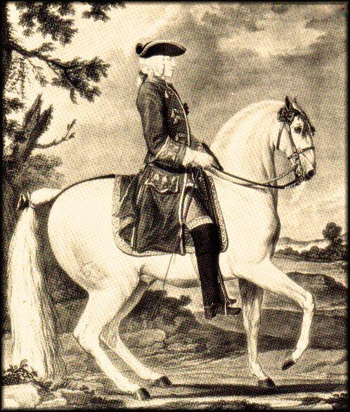"""Gravure de Cazeaux de Nestier, 1684-1754, Maître et """"Ecuyer cavalcadour"""" de Louis XV. Réputé pour son talent avec les chevaux difficiles, la douceur de ses mors et la perfection de son attitude à cheval."""