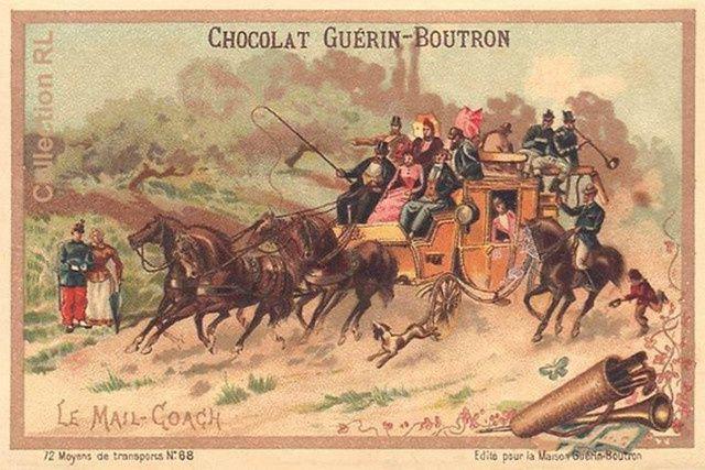 Voyage en mail-coach, fin XIXe siècle.