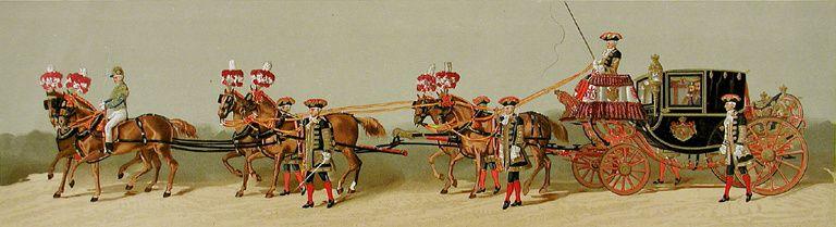 V. Sabater : Cortège du mariage du roi d'Espagne Alphonse XII avec l'Archiduchesse Marie Christine d'Autriche le  29 novembre 1879, détail : Coupé de la Maison du Roi.