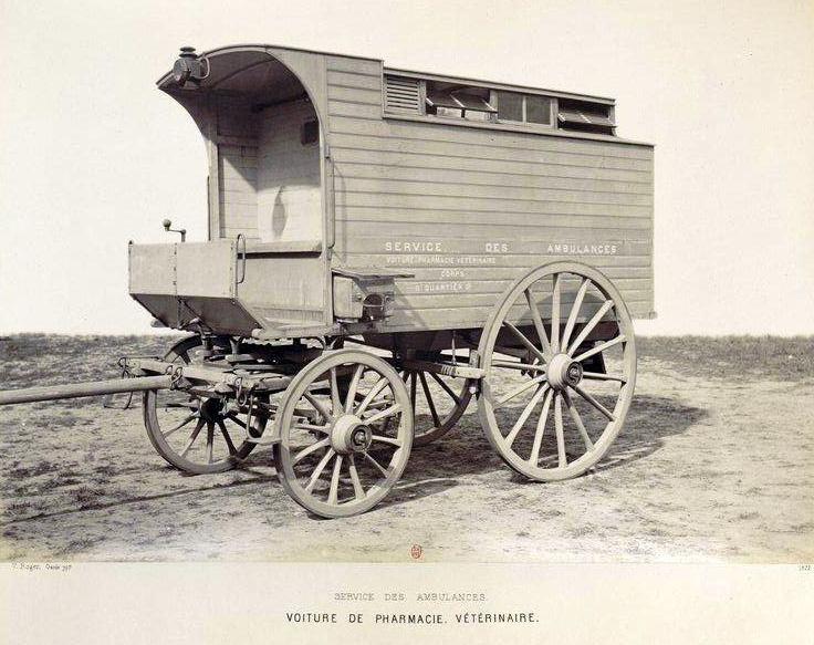 Les différents ambulances militaires hippomobiles.