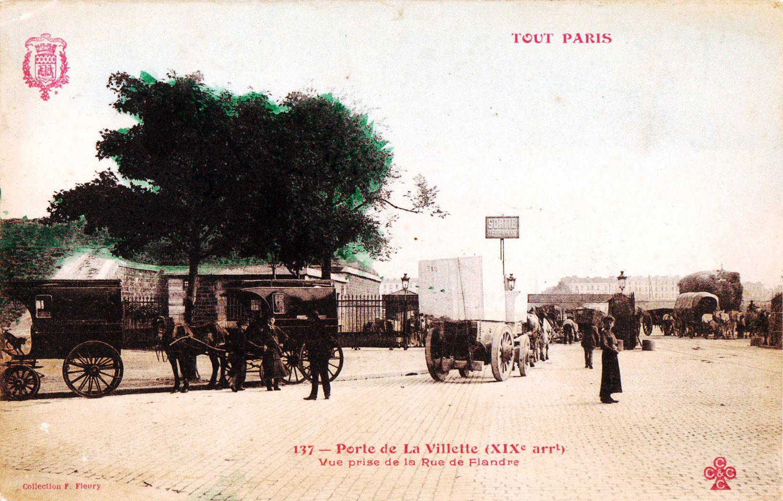 - Scène d'octroi ; à droite, l'imposante silhouette d'un attelage de pailleux. En 1882, le foin paie un droit d'entrée de 6 francs par 100 bottes de 5kg, la paille 2 francs 50 centimes. Le prix de vente moyen du foin est de 8,24 fr le quintal, celui de la paille de Seine-et-Oise ou de Seine-et -Marne varie entre 5,41 fr et 5,65 fr.