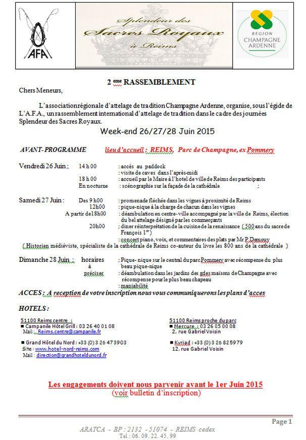 Rassemblement des sacres royaux 26 27 28 Juin à Reims