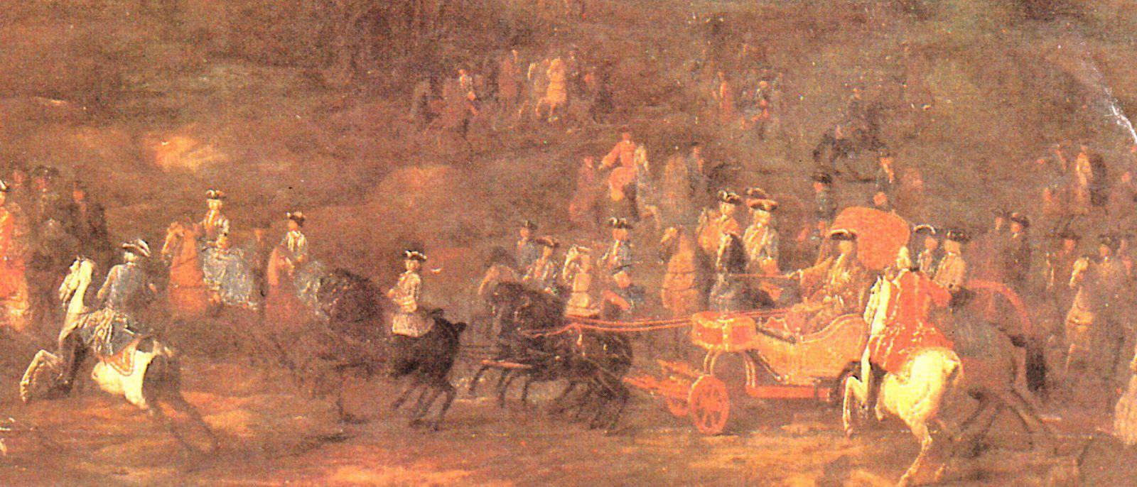 7.Louis XIV conduisant sa calèche à la chasse. Peinture de J.D. Martin. (Musée national de Fontainebleau)