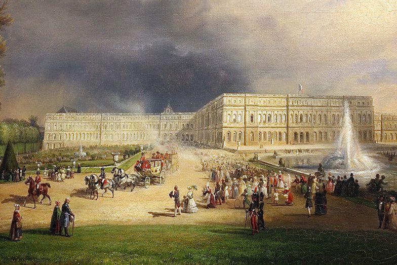 Exemple d'un convoi royal. Louis Philippe faisant voir les grandes eaux de Versailles à la princesse de Kent en 1844 (Château de Versailles)
