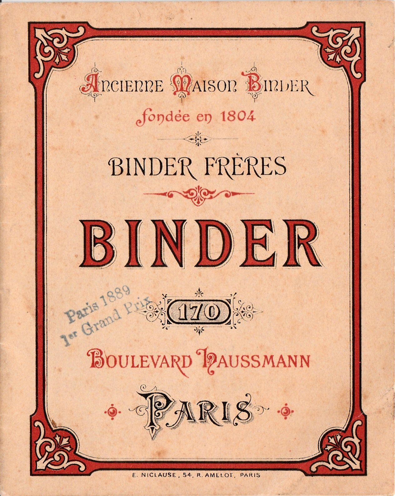 2.	Boulevard Haussmann, maison Binder (couverture d'un catalogue Binder).