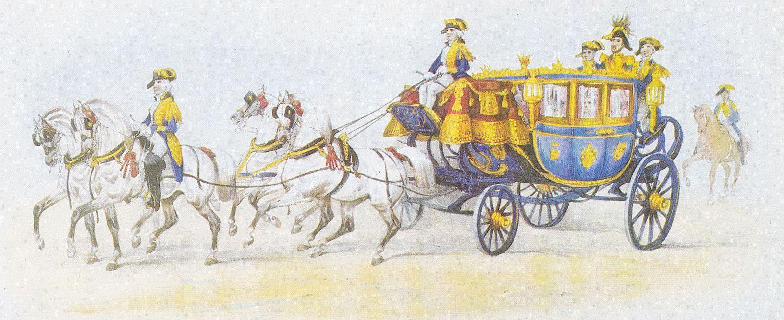Berline de gala de Daldringen et Mathey utilisée à Londres en 1838 par le Maréchal Soult pour le couronnement de la reine Victoria (Lithographie de Victor Adam).