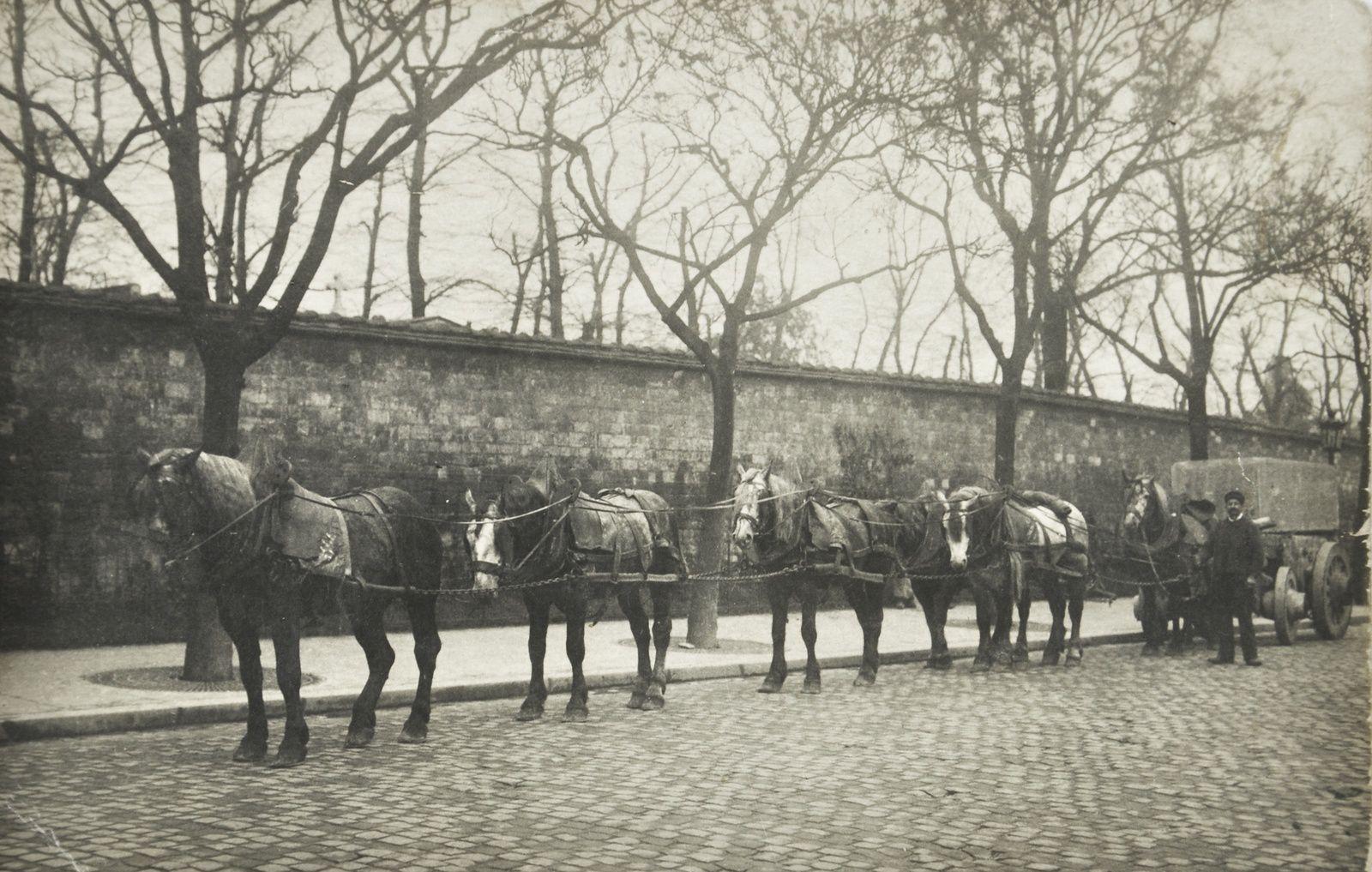 Fardier pour le transport des pierres de taille à Paris vers 1905-1910. A noter le système complexe d'attelage « en double cheville » typique du gros camionnage parisien.