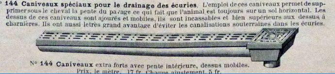 Description des écuries de luxe de la fin du XIX° siècle.