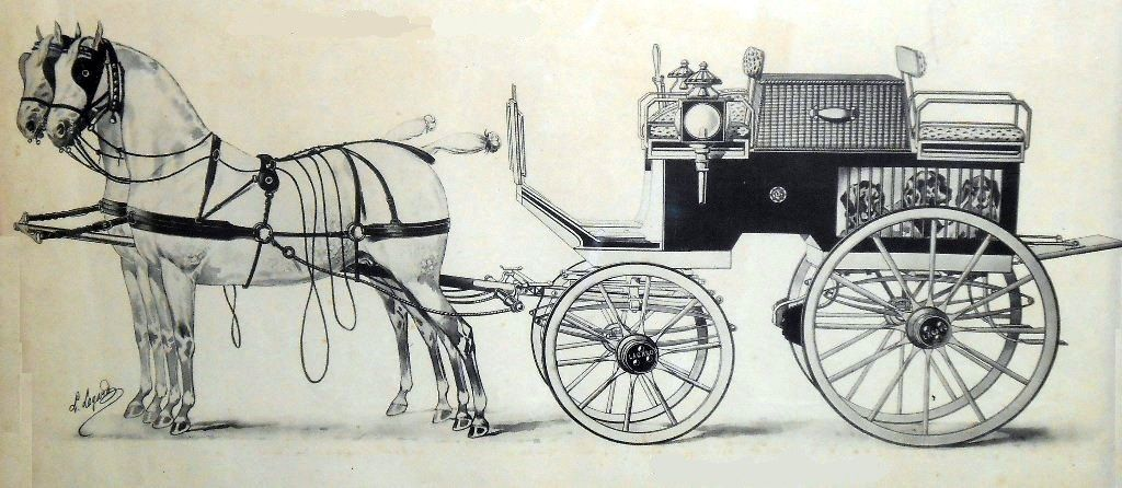Dog-cart à 4 roues. Dessin de Louis Lagard