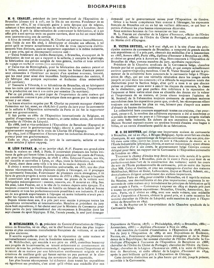 Carrossiers Belges à l' Exposition universelle de Bruxelles 1897