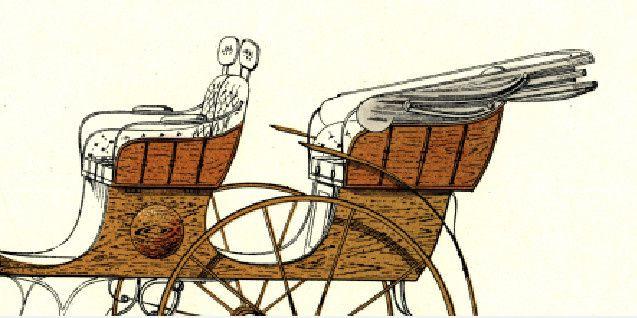 Décor de demi-balustres en applique sur les panneaux des sièges du char-à-bancs.