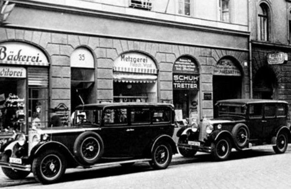 Voitures avec chauffeurs de la maison Sixt en 1927