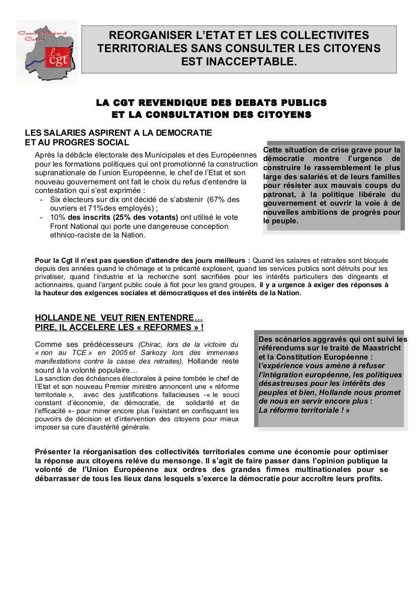 REORGANISER L'ETAT ET LES COLLECTIVITES TERRITORIALES SANS CONSULTER LES CITOYENS EST INACCEPTABLE!